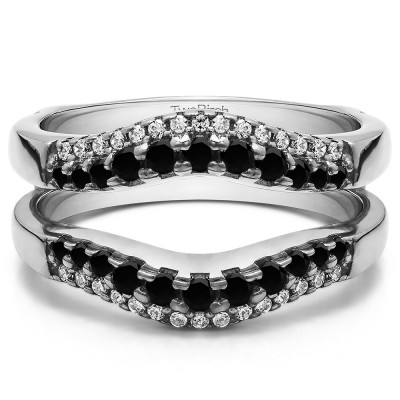 0.53 Ct. Black and White Stone Double Row Contour Ring Guard