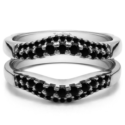 0.53 Ct. Black Stone Double Row Contour Ring Guard