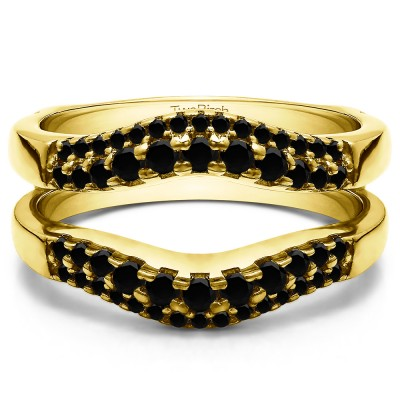 0.53 Ct. Black Stone Double Row Contour Ring Guard in Yellow Gold