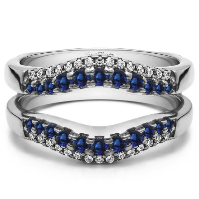 0.53 Ct. Sapphire and Diamond Double Row Contour Ring Guard