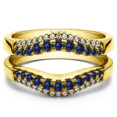 0.53 Ct. Sapphire and Diamond Double Row Contour Ring Guard in Yellow Gold