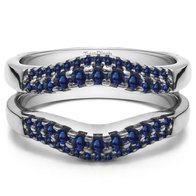 0.53 Ct. Sapphire Double Row Contour Ring Guard
