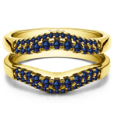 0.53 Ct. Sapphire Double Row Contour Ring Guard in Yellow Gold