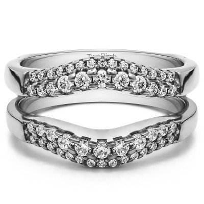 0.53 Ct. Double Row Contour Ring Guard With Cubic Zirconia Mounted in Sterling Silver (Size 8.25)