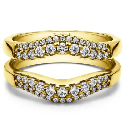 0.53 Ct. Double Row Contour Ring Guard in Yellow Gold