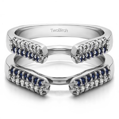 0.56 Ct. Sapphire and Diamond Double Row Cathedral Ring Guard
