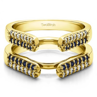 0.56 Ct. Sapphire and Diamond Double Row Cathedral Ring Guard in Yellow Gold