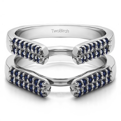 0.56 Ct. Sapphire Double Row Cathedral Ring Guard