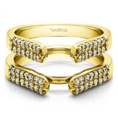 0.56 Ct. Double Row Cathedral Ring Guard in Yellow Gold