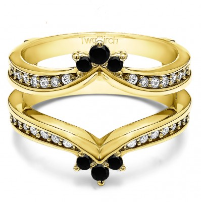 0.38 Ct. Black and White Stone Crown Chevron Contour Ring Guard in Yellow Gold