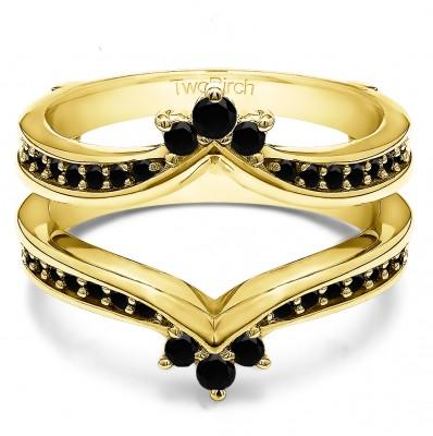 0.38 Ct. Black Stone Crown Chevron Contour Ring Guard in Yellow Gold