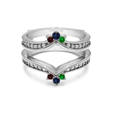 Genuine Birthstone Crown Inspired Contour Ring Guard(0.38 Carat)