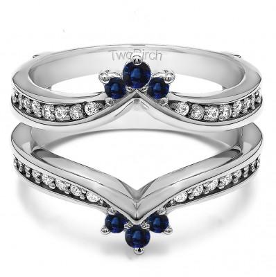 0.38 Ct. Sapphire and Diamond Crown Chevron Contour Ring Guard