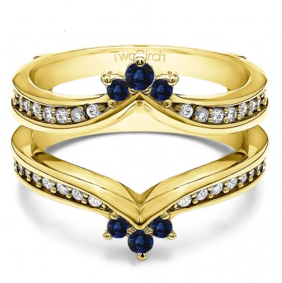 0.38 Ct. Sapphire and Diamond Crown Chevron Contour Ring Guard in Yellow Gold