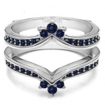 0.38 Ct. Sapphire Crown Chevron Contour Ring Guard