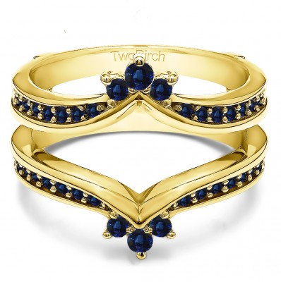 0.38 Ct. Sapphire Crown Chevron Contour Ring Guard in Yellow Gold