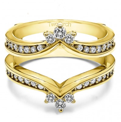 0.38 Ct. Crown Chevron Contour Ring Guard in Yellow Gold