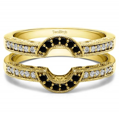 0.21 Ct. Black and White Stone Filigree Millgrained Vintage Halo Ring Guard in Yellow Gold