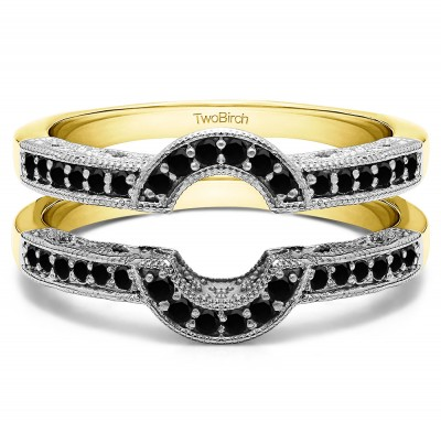 0.21 Ct. Filigree Millgrained Vintage Halo Ring Guard in Two Tone Gold