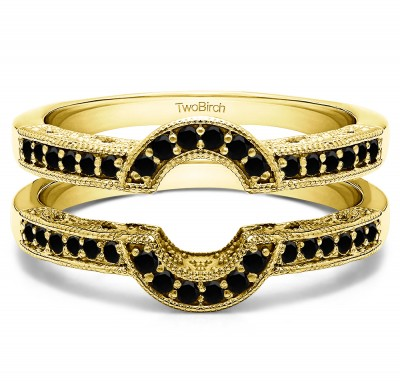 0.21 Ct. Black Stone Filigree Millgrained Vintage Halo Ring Guard in Yellow Gold