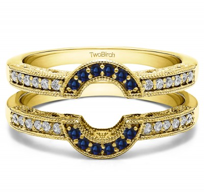 0.21 Ct. Sapphire and Diamond Filigree Millgrained Vintage Halo Ring Guard in Yellow Gold