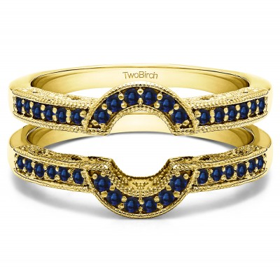 0.21 Ct. Sapphire Filigree Millgrained Vintage Halo Ring Guard in Yellow Gold