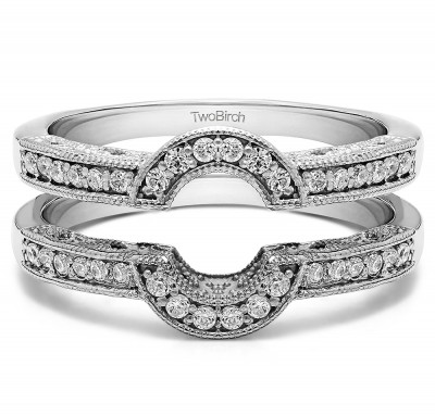 0.21 Ct. Filigree Millgrained Vintage Halo Ring Guard With Diamonds(G,I2) Mounted in Sterling Silver.(Size 6)