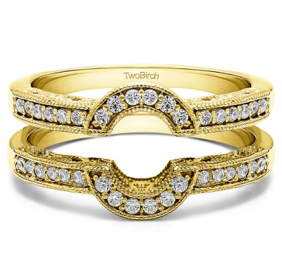 0.21 Ct. Filigree Millgrained Vintage Halo Ring Guard in Yellow Gold