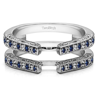 0.29 Ct. Sapphire and Diamond Cathedral Ring Guard with Millgrained Edges and Filigree Design