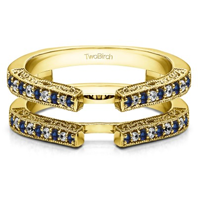 0.29 Ct. Sapphire and Diamond Cathedral Ring Guard with Millgrained Edges and Filigree Design in Yellow Gold