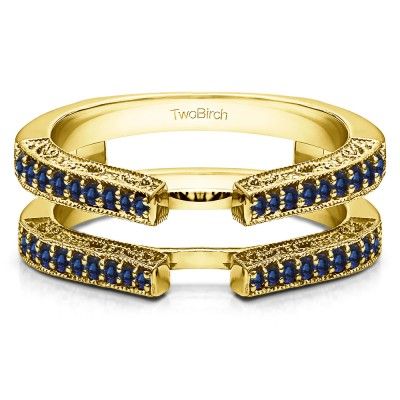 0.29 Ct. Sapphire Cathedral Ring Guard with Millgrained Edges and Filigree Design in Yellow Gold
