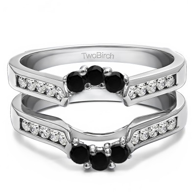 0.54 Ct. Black and White Stone Royalty Inspired Half Halo Ring Guard Enhancer