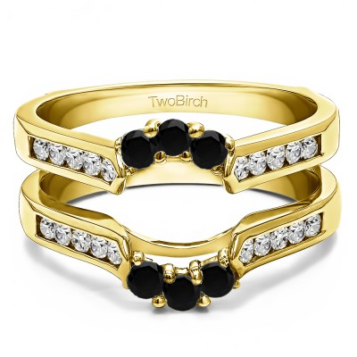0.54 Ct. Black and White Stone Royalty Inspired Half Halo Ring Guard Enhancer in Yellow Gold