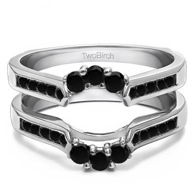 0.54 Ct. Black Stone Royalty Inspired Half Halo Ring Guard Enhancer