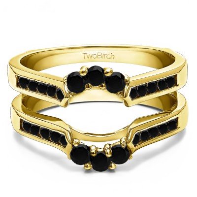 0.54 Ct. Black Stone Royalty Inspired Half Halo Ring Guard Enhancer in Yellow Gold