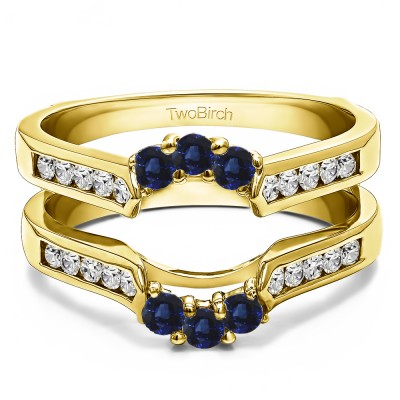 0.54 Ct. Sapphire and Diamond Royalty Inspired Half Halo Ring Guard Enhancer in Yellow Gold