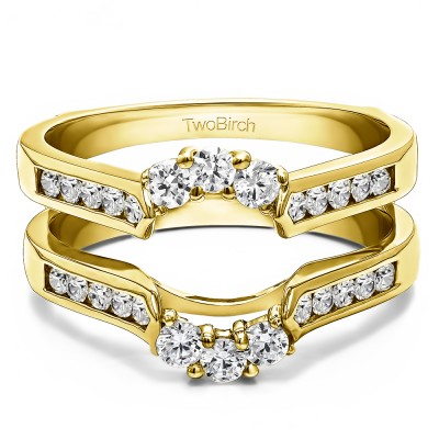 0.54 Ct. Royalty Inspired Half Halo Ring Guard Enhancer in Yellow Gold