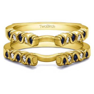 0.5 Ct. Sapphire and Diamond Twirl Channel and Prong Set Cathedral Ring Guard  in Yellow Gold