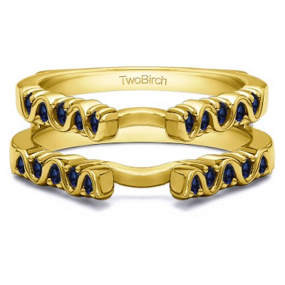 0.5 Ct. Sapphire Twirl Channel and Prong Set Cathedral Ring Guard  in Yellow Gold