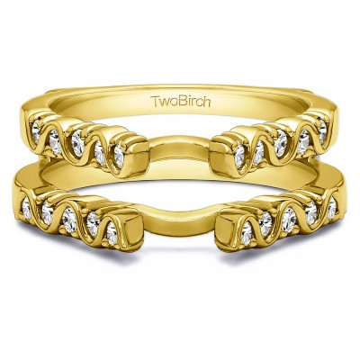 0.5 Ct. Twirl Channel and Prong Set Cathedral Ring Guard  in Yellow Gold