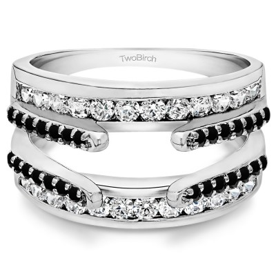 Sterling Silver Combination Cathedral and Classic Ring Guard With Black And White Cubic Zirconia (1 CT) (Size 9.5)