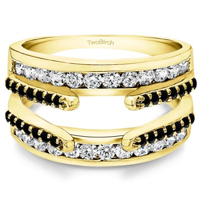 0.5 Ct. Black and White Stone Combination Cathedral and Classic Ring Guard in Yellow Gold