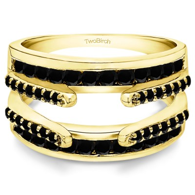 0.5 Ct. Black Stone Combination Cathedral and Classic Ring Guard in Yellow Gold