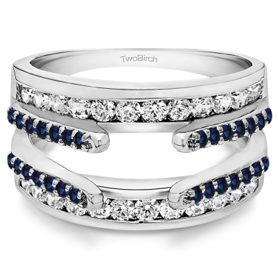 0.5 Ct. Sapphire and Diamond Combination Cathedral and Classic Ring Guard