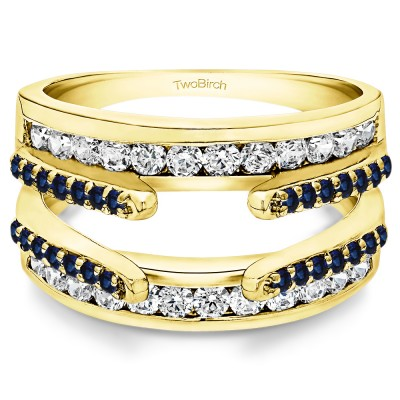 0.5 Ct. Sapphire and Diamond Combination Cathedral and Classic Ring Guard in Yellow Gold