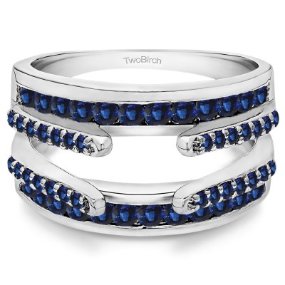 0.5 Ct. Sapphire Combination Cathedral and Classic Ring Guard