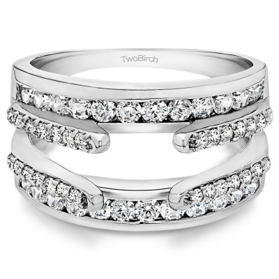 1.01 Ct. Combination Cathedral and Classic Ring Guard With Diamonds(G,I2) Mounted in 10k White Gold (Size 7.25)