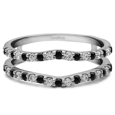 0.24 Ct. Black and White Stone Double Shared Prong Curved Ring Guard