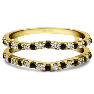 0.24 Ct. Black and White Stone Double Shared Prong Curved Ring Guard in Yellow Gold