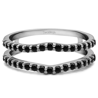 0.24 Ct. Black Stone Double Shared Prong Curved Ring Guard